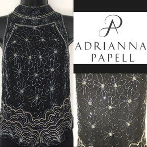 Vintage Adrianna Papell Halter Beaded Floral Top M